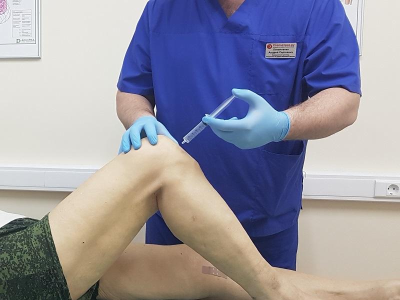 Блокада правого коленного сустава